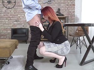 Dyed red haired lady Zara DuRose gives BJ to her purchaser and gets fucked mish