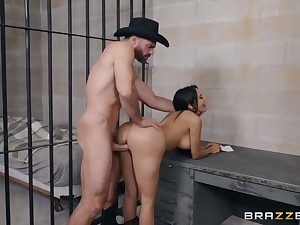 Sheriff plus a slutty cowgirl fucking in a jail cell