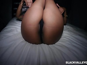 Ebony babe with long hair Lotus Lain pounded missionary flavour