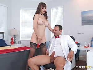 Office doggy fuck at hand Lexi Luna getting cum on her huge tits