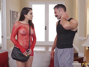 Teen slut in a fishnet suit Ashly Anderson swallows every drop be useful to cum