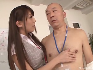 Slender Japanese babe in a tight skirt Kashii Ria gets cum on her confidential