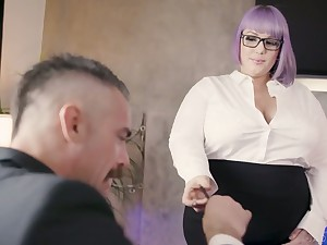 Nasty BBW secretary seduces and fucks her taking boss Charles Dera