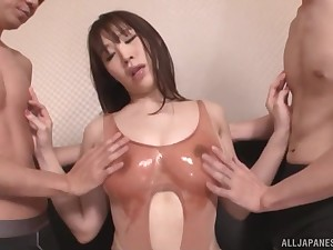 big-busted  Rinne Toukae sucks every inch of her friend's cock in a threesome