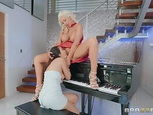 Young lesbian Jade lezing up upon a hot prexy piano teacher