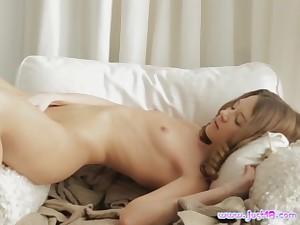Trini masturbates on the bed thinking about friend's unafraid penis