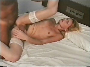 Interracial bit With A Stockinged transsexual chick