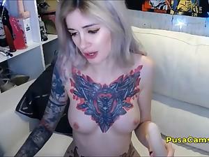 Tattooed YouTube Gamer Girl Dildo DP Masturbation Live