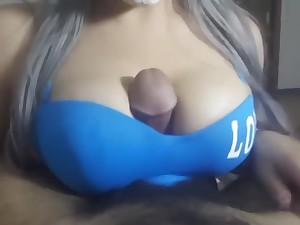 4K Arabian HALLOWEEN tit fuck - cumshot collar mo