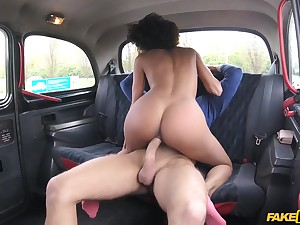 Taxi driver spreads legs of beloved ebony girl for his big penis