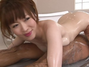 Slithery Japanese enjoys to erode two sticky penises at the same time