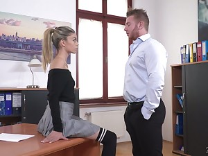 Thersitical queen lures his naughty coupled with sexy secretary Ciara Riviera coupled with fucks her anus hard