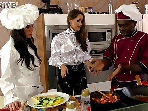 Horny chef timber turns a cooking lesson come by a hot interracial scene