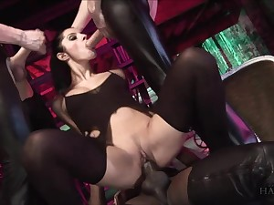 Complete whore Lucy Belle rides a big jet-black dick and blows two meaty vapid cocks