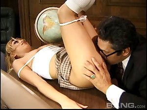 Horny roguish fucks her dank pupil in this office sex action