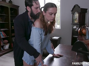 Jealous stepdad spanks and fucks pretty awl stepdaughter Lily Glee