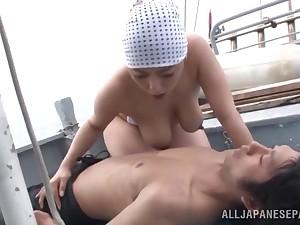 Passionate Japanese couple fucking hardcore on a boat