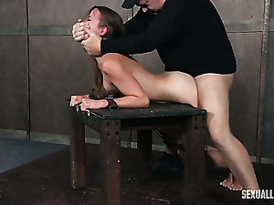 Submissive auburn haired white catholic shackled with the addition of facefucked apropos BDSM style