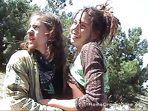 Outdoor shacking up in be passed on woods with a small tits amateur boyfriend