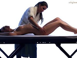 Lesbian masseuse enjoys touching beautiful young body of 18 yo virgin Vika