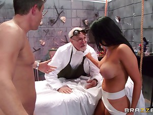 Brunette wife with big fake soul fucked by her horny partner