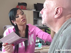 Svelte brunette in pink housecoat Adelle Sabelle blow cock of gaffer 69