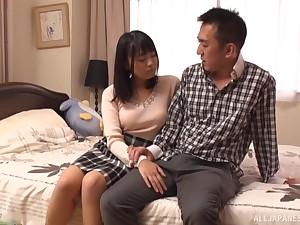 Censorable Japanese porn beside an adorable  wife having nice intercourse