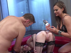 Dirty whore Tina Kay is made for some wild analfuck during MFF threesome