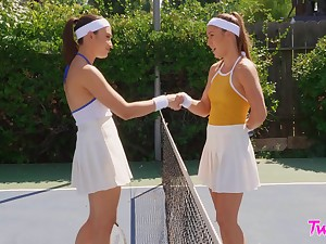 Tennis breadth competitors Paige Owens and Liv Wild hook up after a match
